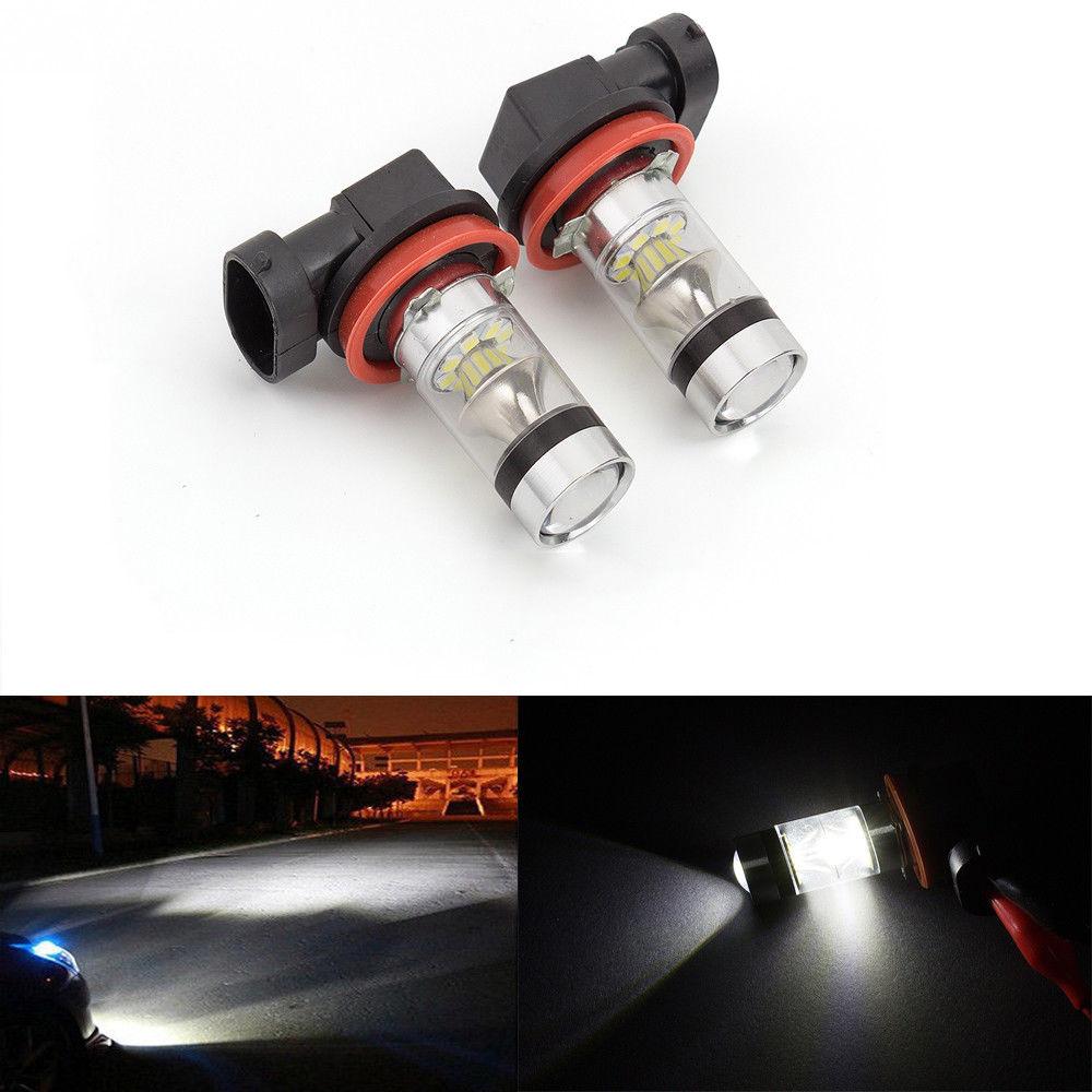 Fuleem 2PCS Super White LED Fog Light Bulbs 6500k H11 H8 H3 100W LED Fog Driving