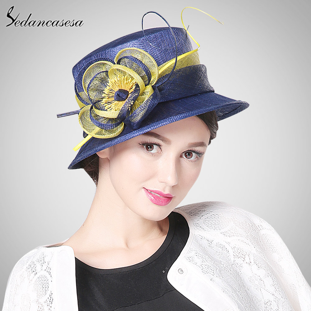 Sedancasesa 2018 new Church hat female handmade formal hats for women  England Style Vintage Philippines Sinamay Fascinator hat 995cc00e93f