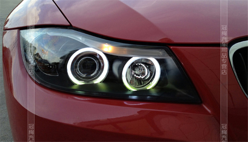 Free shipping for VLAND car Head lamp for BMW E90 LED headlight 318 320 325 Head lamp 2005-2012 LED Angel eyes H7 Xenon lamp free shipping 2003 2005 nissans 350 z auto headlight led headlamp with angel eyes best quality h7 or d2h xenon lamp