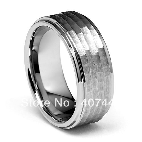 Free Shipping Cheap Price USA Brazil Russia Hot Sales 8mm Silver Brush Hammer Hit Tungsten Carbide Ring New Men's Wedding Band