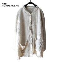 NINI WONDERLAND New Spring Autumn Women S Long Sleeve Blouses Shirts Loose Casual Natura Linen Cardigan