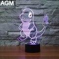 Novelty mega charmander pokemon ir lámpara luz de la noche 3d táctil Nocturna Centellante lámpara de mesa Pikachu 7 Color 3D Para El Regalo de Los Cabritos Lampara
