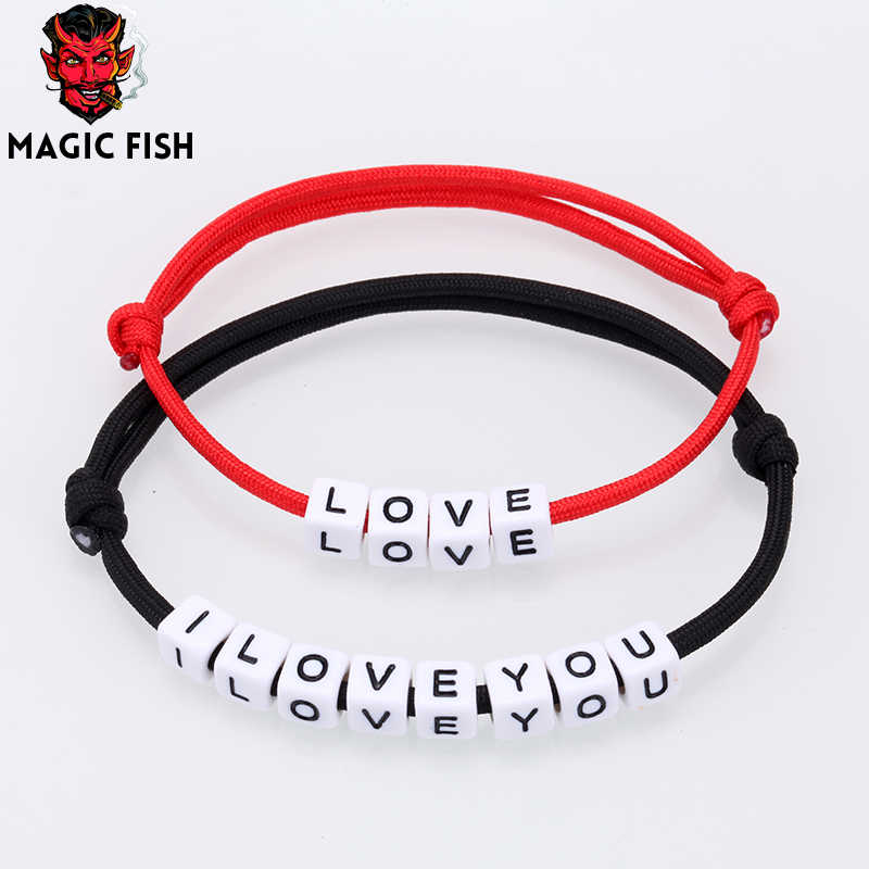 Letter Bracelet Couple Simple Charm Bracelets Black Red Colour Minimalist Adjustable Rope String Lucky Bracelet Lovers Jewelry
