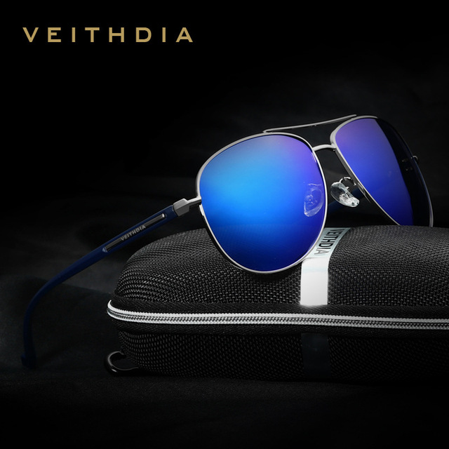 VEITHDIA Retro Alloy+TR90 Brand Men's Sunglasses Polarized Lens Vintage Eyewear Accessories Driving Sun Glasses For Men 2708