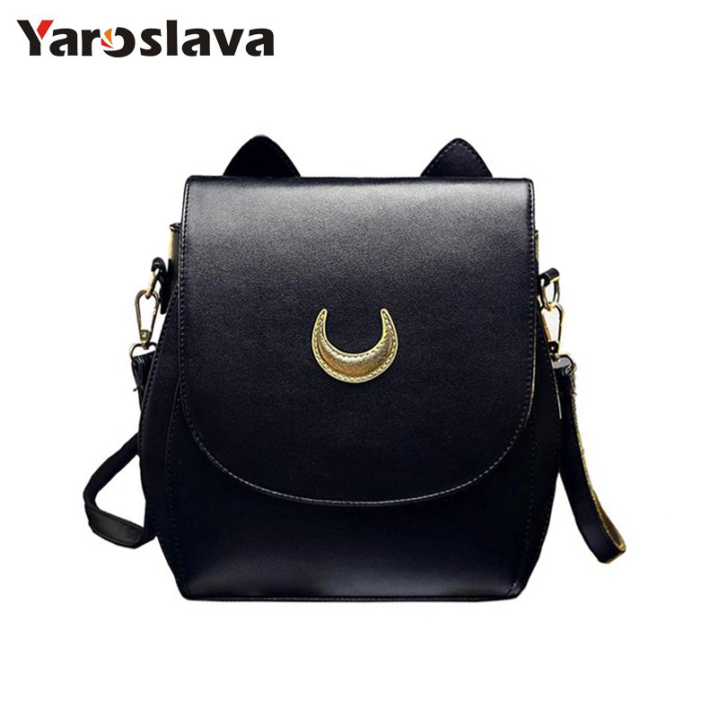 New Sailor Moon Black PU Leather Backpack Women Shoulder Rucksack 2017 School Bags for Teenage Girls Brand Sac A Dos Femme LL34 new printing pu leather backpack women shoulder rucksack university bags for teenage girls designer brand korean femme