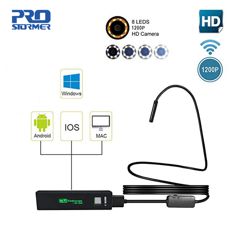 Endoscope WIFI Endoscope PROSTORMER caméra Semi-rigide HD 1200P pour caméra d'inspection Android iPhone IP68 iOS 7