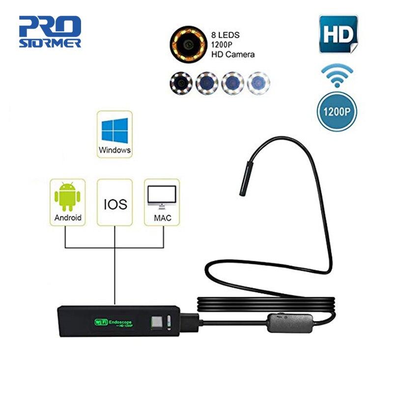 PROSTORMER Endoscópio Câmera Borescope WIFI 1200P HD Com Fio Semi-Rígido para iOS Android iPhone IP68 Inspeção Câmera 7