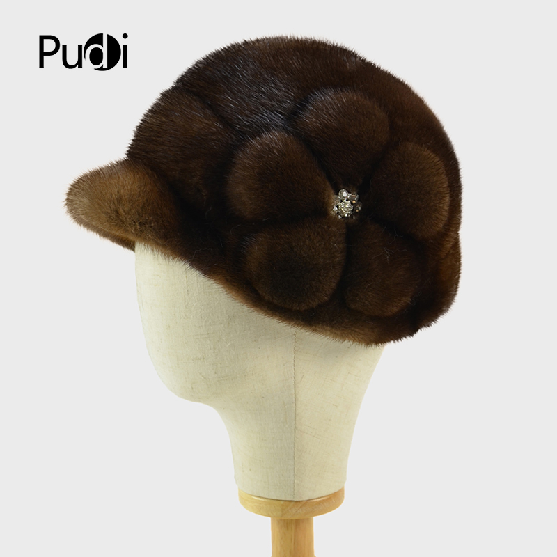 Pudi HF717 women mink fur hat Queenfur Real Whole Skin Mink Fur Hat with flower Fur Beanie Women Warm Fur Cap cx c 128c hot sale fashion women mink fur wholesale woman mink fur women hat drop shipping