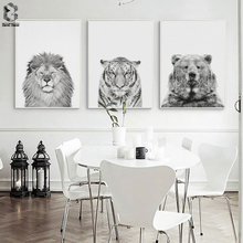 Black & White Wild Animal Lion Tiger Bear Canvas Art Print and Poster, Modern Canvas Painting Nordic Wall Picture Home Decor