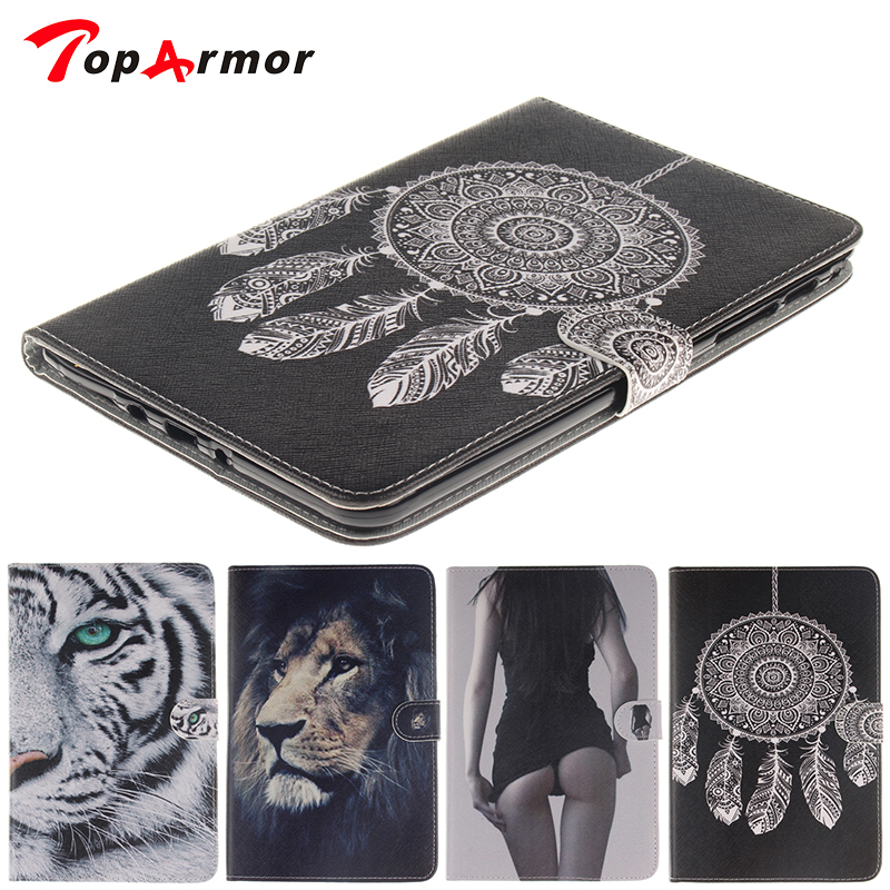 TopArmor Fashion Tiger Owl Girl Pattern Talbet Case For Apple ipad Pro 12.9'' Cover Flip Stand with Card Slot PU Leather Pad