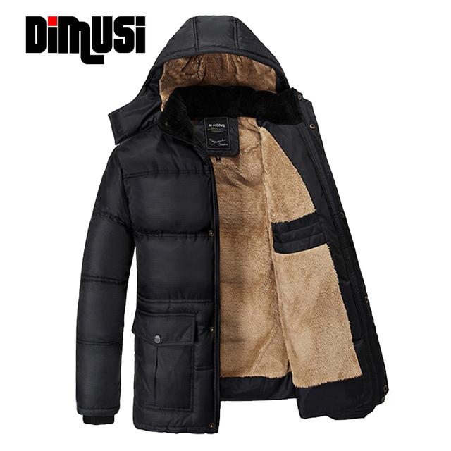 DIMUS 5XL Mens abajo chaqueta de Invierno chaqueta con capucha de Algodón espesar plus terciopelo negro de mediana edad abrigos Parkas Casaco masculino, YA540