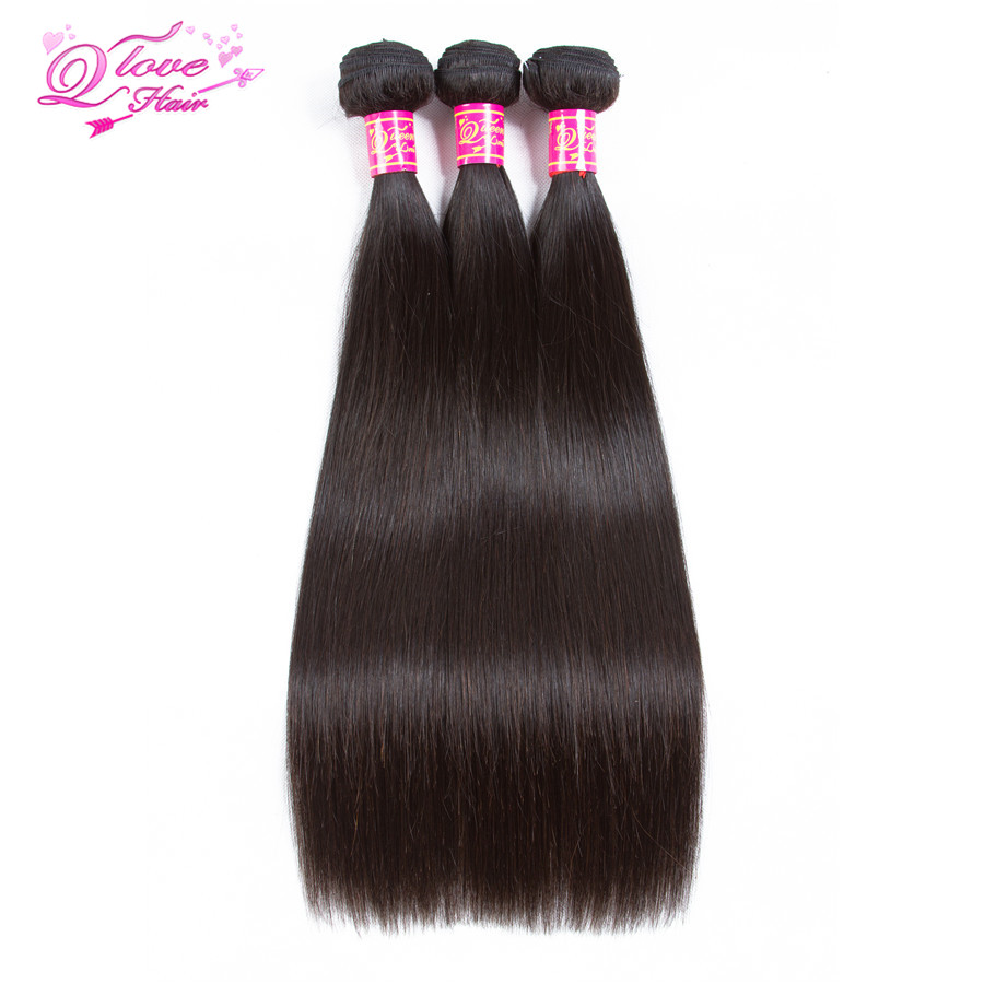 Queen Love Hair Pre-Colored Mongolian Straight Human Hair Extension Hair Weave 3/4 Bundles Natural Color Remy Hair