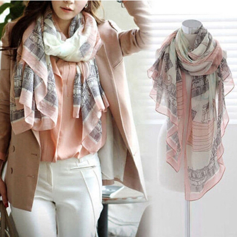 Elegant Women Long Print Chiffon   Scarf     Wrap   Ladies Shawl Large   Scarves   Pink Landscape Print   Scarf   Shawl Dual Use
