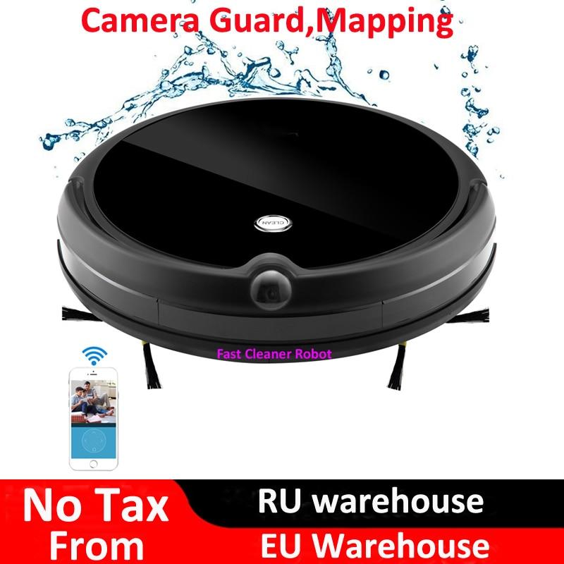 2018 Guarda Câmera de Vídeo Chamada Elétrico Seco Molhado Aspirador de pó Robô Com o Mapa de Navegação, WiFi Controle de App, memória inteligente, Tanque de Água
