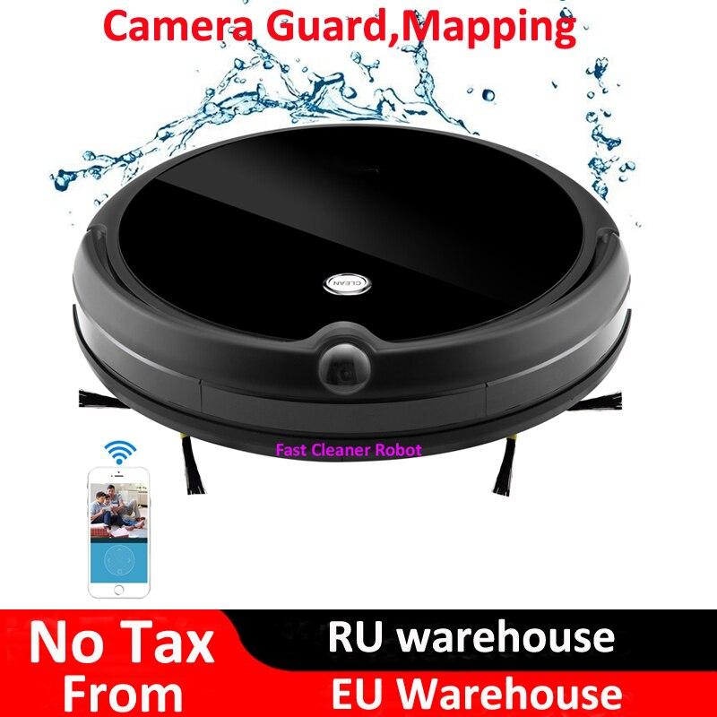 2018 caméra garde appel vidéo humide sec aspirateur électrique Robot avec Navigation de carte, WiFi App contrôle, mémoire intelligente, réservoir d'eau