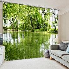 Luxury Elegent 3D green lake Photo Printing Blackout font b Window b font font b Curtain