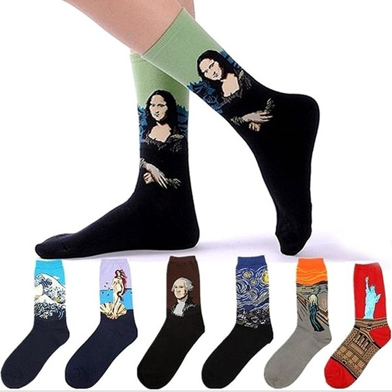 Harajuku Unisex Couple Short Funny Socks Women Men Abstraction Mona Lisa Van Gogh Oil Prints Socks Cotton Casual Solid Sox Soft