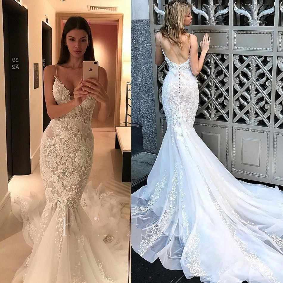 7039eb6ee6d22 Stunning Sexy Backless Wedding Dresses Mermaid Style Spaghetti Strap Lace  Bride Dress Sweetheart Neckline