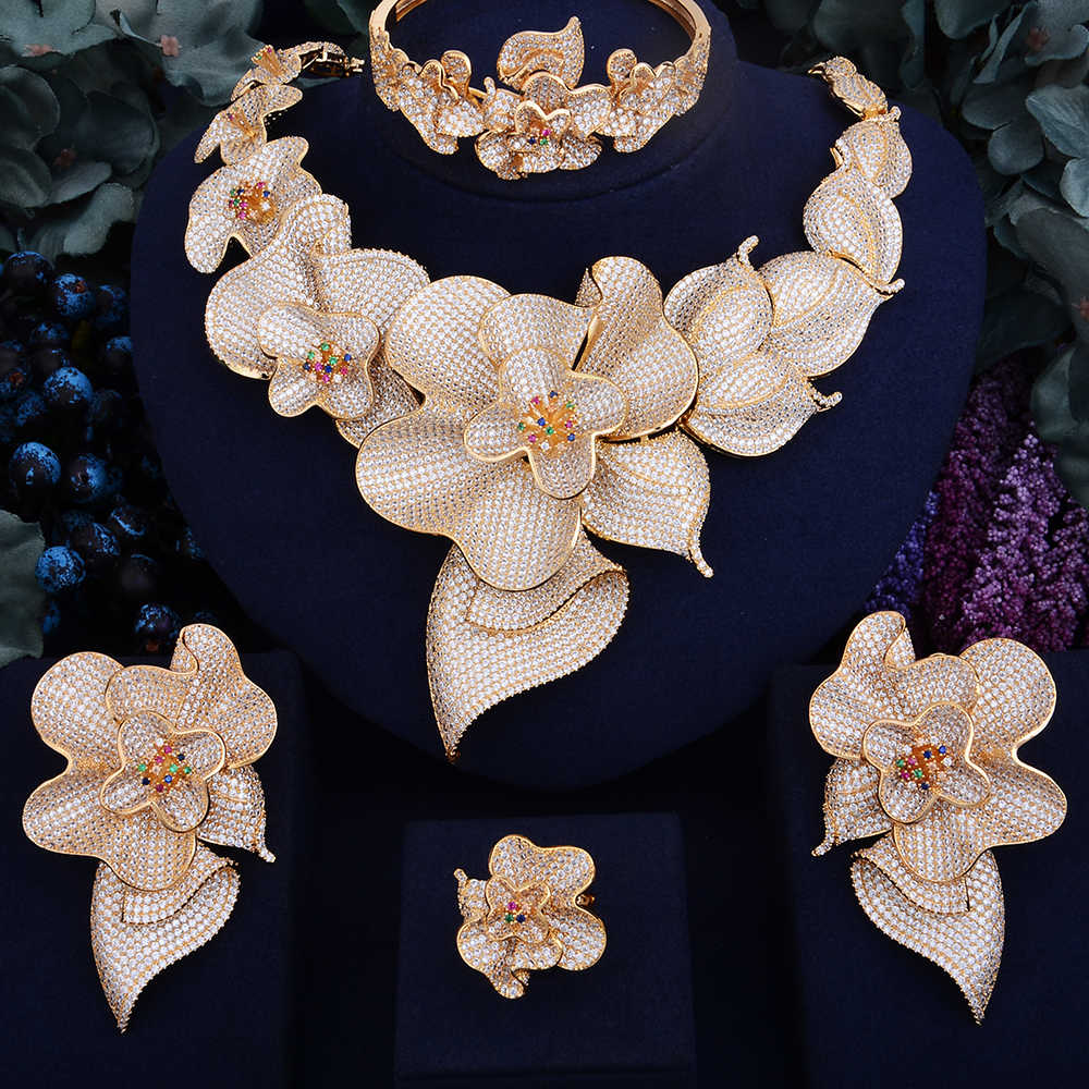 GODKI Super Big Luxury Rose Flower Women Wedding Naija Bride Cubic Zirconia Necklace Dubai 4PCS Jewelry Set Jewellery Addiction