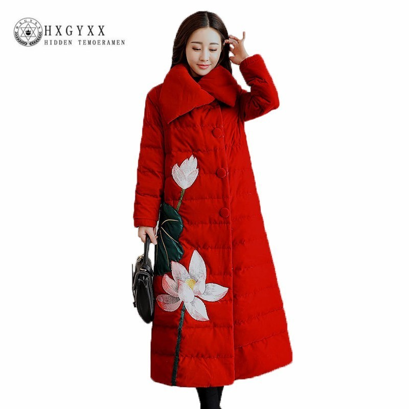 Plus Size Chinese National Style Down Cotton Clothes Female Middle Length 2019 Embroidered   Parka   Winter Jacket Women Coat J030