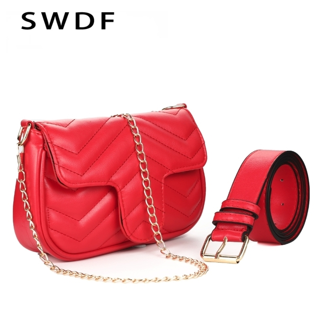 4a9bcd61a4c SWDF 2018 Luxury PU Leather Women Messenger Bag Plaid Ladies Crossbody Bag  Chain Trendy Candy Color Small Flap Shopping Handbag
