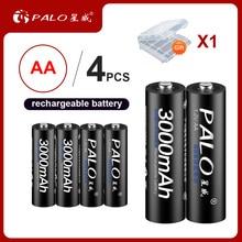 4 шт. AA заряжаемые аккумуляторы 1,2 в AA 3000 мАч Ni-MH Предварительно заряженный перезаряжаемый аккумулятор 2A Baterias для камеры с коробкой