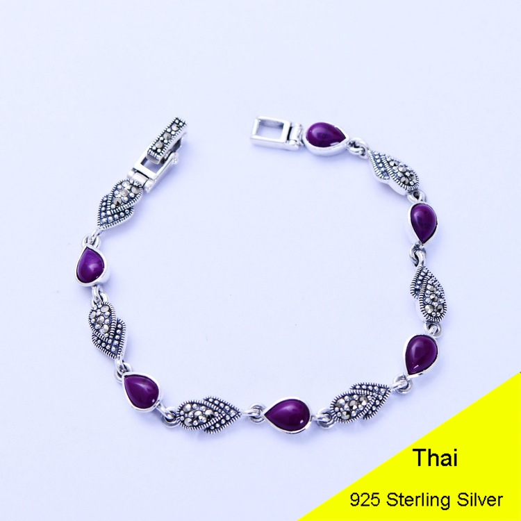 Fashion 925 Sterling Silver Vintage Handmade Sugilite Bracelet Women Thai Silver Gift Jewelry CH052535 fashion 925 sterling silver vintage handmade sugilite bracelet women thai silver gift jewelry ch052535
