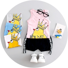Summer Unisex Baby Girls Chicken Sleeveless Vest Tank Tops + Letter Shorts Kids Casual Sport Tracksuits 2Pcs Suits Boys Sets
