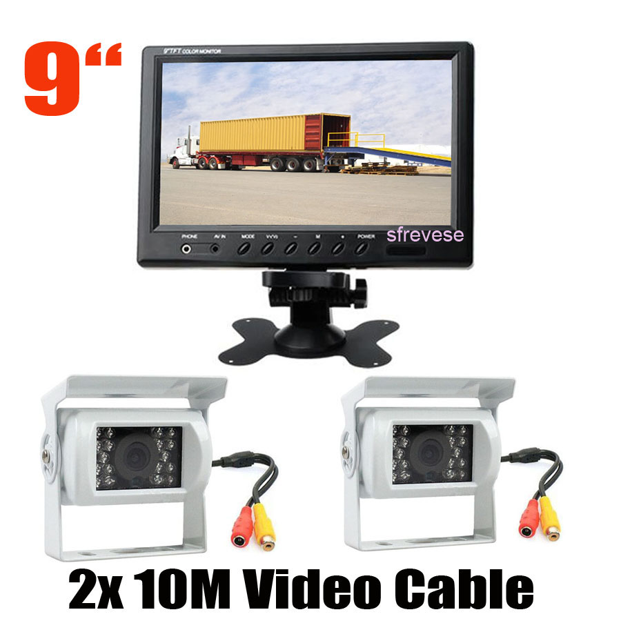 9 LCD Monitor Rear View Kit 2x 18 LED IR Reversing Parking Backup Camera White for