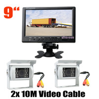 9 LCD Monitor Rear View Kit + 2x 18 LED IR Reversing Parking Backup Camera White for Bus Truck Motorhome