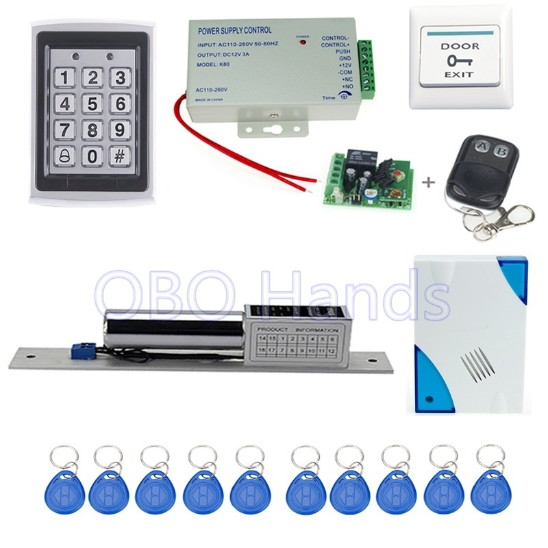 Free shipping metal access control system 7612+electronic bolt lock +power supply+key fobs+door bell+exit button+remote control free shipping rfid access control system 8618a electronic bolt lock power supply key fobs door bell exit button remote control