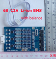 12A 25.2 V de Polímero de lítio lipo 6 S BMS/PCM/PCB placa de circuito de proteção da bateria para 6 Pacotes 18650 Li-ion Célula de Bateria w/Equilíbrio