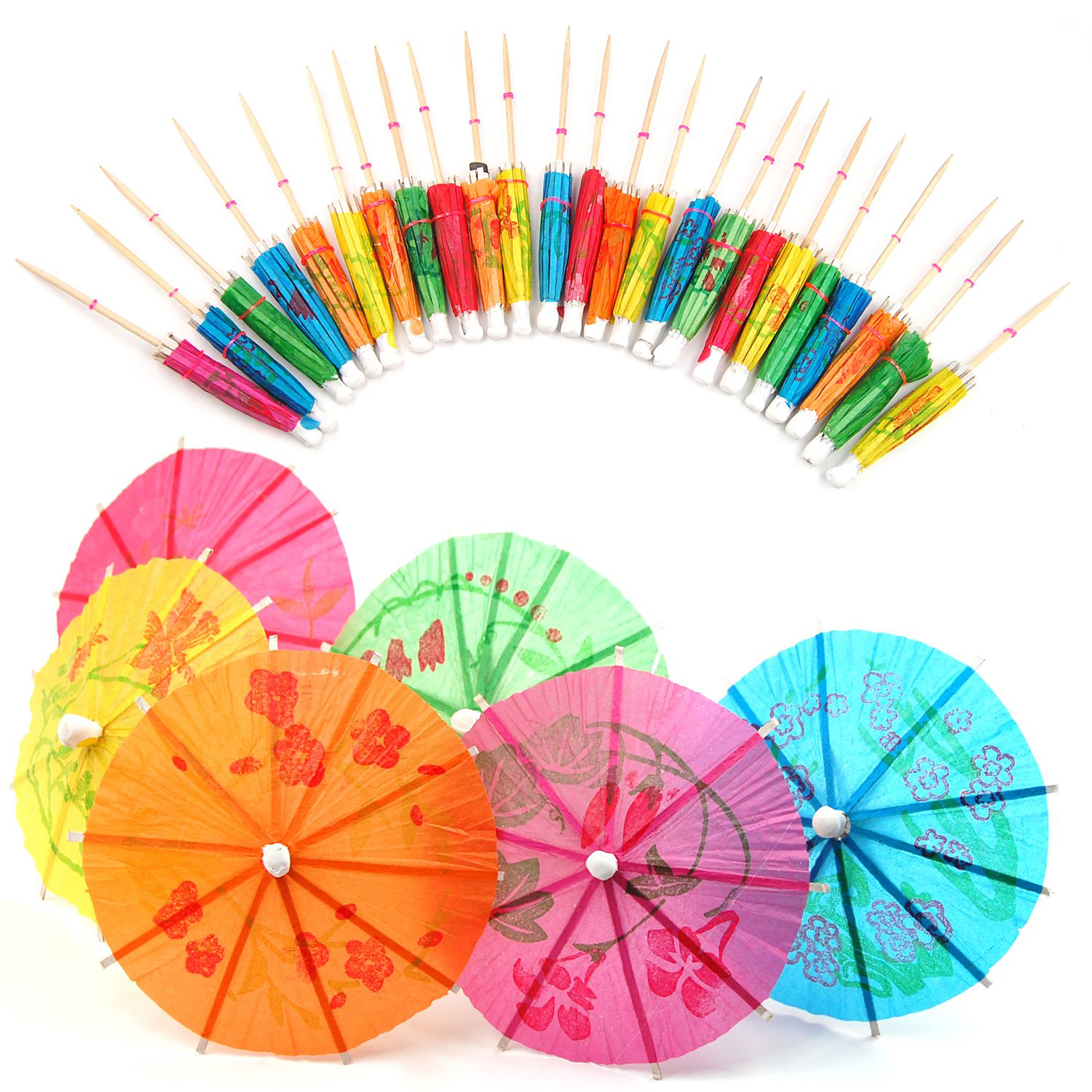 36 Cocktail Umbrella Straw Tropical Hawaiian Party Accessories Assorted Colour