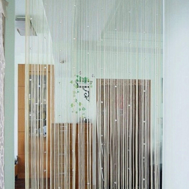 Romantic Decorative String Curtain With Beads Tassel Door Precious Window Panel Room Divider For Bedroom