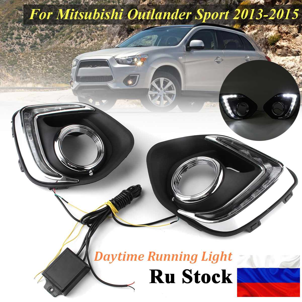 Russian Stock Led Drl For Mitsubishi ASX Outlander Sport 2013 2016 Daytime Running Light Front Bumper Driving Fog Lamp Daylight