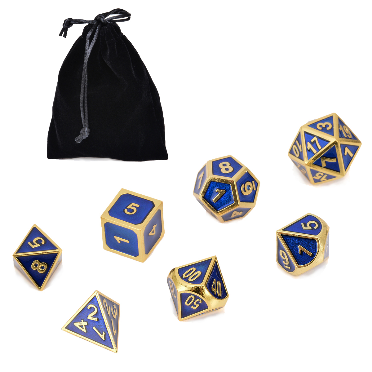7Pc Metal Polyhedral Dice Antique Gold & Blue With Bag Dungeons & Dragons RPG MTG Role Playing Board Interesting Gathering Game