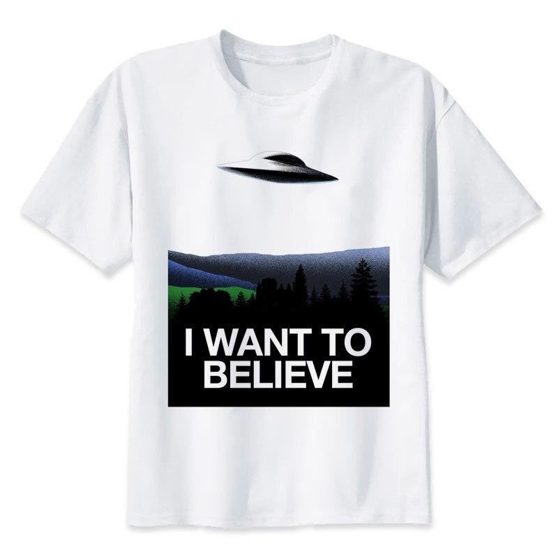 I Want to Believe T shirt men t shirt fashion t-shirt O Neck white TShirts For man Top Tees MR1388
