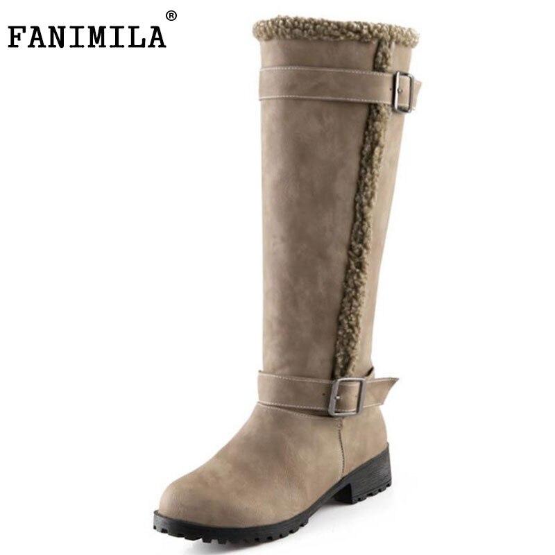 FANIMILA Size 34 43 Women Winter Knee Boots With Fur High Heels Boots Women In Winter