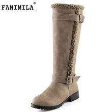 Fanimila размеры 34–43 Для женщин зимние сапоги до колена Сапоги и ботинки для девочек с Мех сапоги на высоком каблуке Для женщин в зимняя обувь для женщин Зимние боты женская обувь