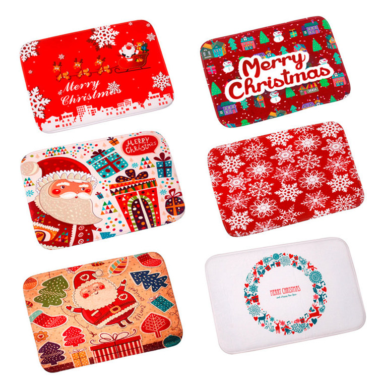 FENGRISE Merry Christmas Door Mat Santa Claus Flannel Outdoor Carpet Christmas Decorations For Home Xmas Party Favors New Year 7