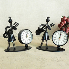 Creative beautiful girl instrument playing iron man clock office desk decoration retro  creative accessories