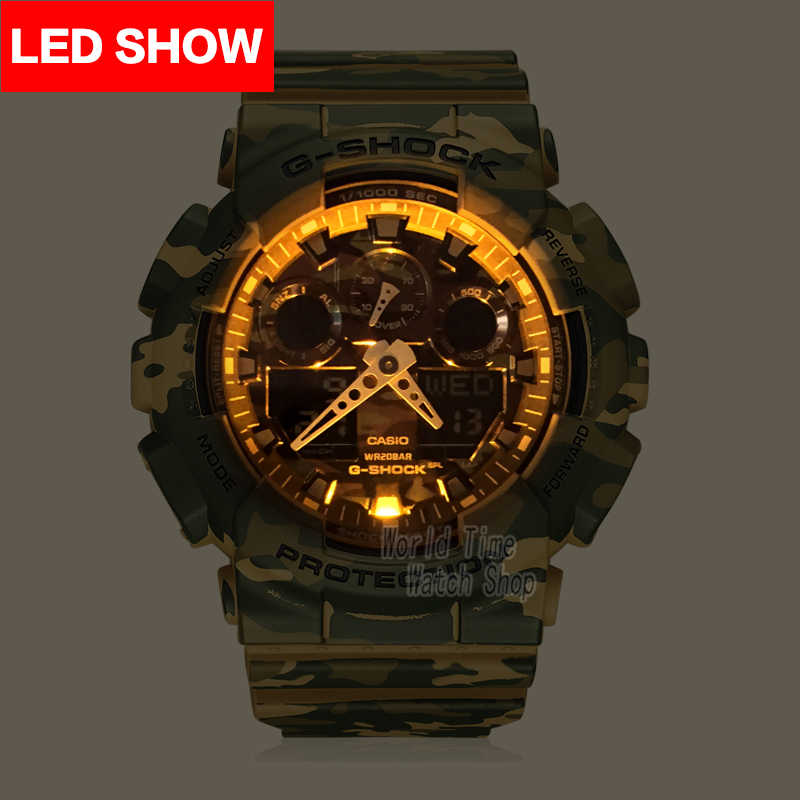 Casio לצפות שעון הלם שעון גברים המותג העליון מותרות LED צבא דיגיטלי שעון ספורט Waterproof Watch קוורץ גברים גברים לצפות relogio masculino reloj hombre erkek kol saati montre homme zegarek meski GA-100CM-5A