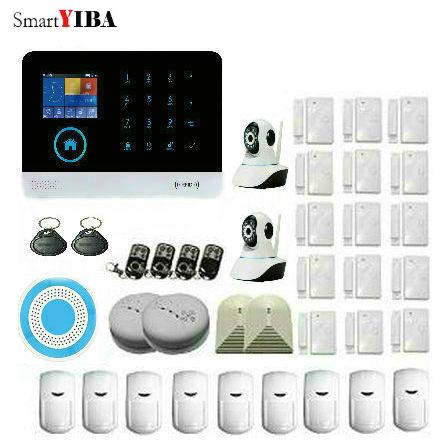 SmartYIBA APP Control Arm Disarm Alarm Touch Key WIFI GSM Alarmes WIFI Camera Surveillance Blue Siren Home Protection Alarm