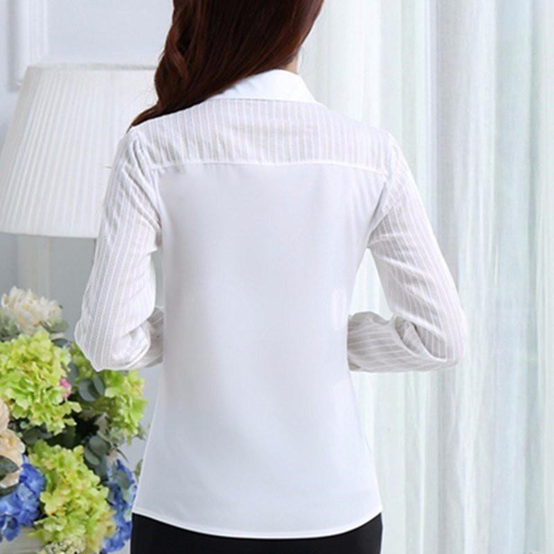 HTB191nONpXXXXaTXVXXq6xXFXXXK - FREE SHIPPING White Blouse Shirt Women Work Wear Long Sleeve JKP092