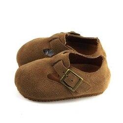 New Retro Genuína Sapatos de Bebê de Couro Criança Sapatos Casuais Simples Crianças dos miúdos Sapatos de Couro Estudante Vestido Flats fundo Macio 02B