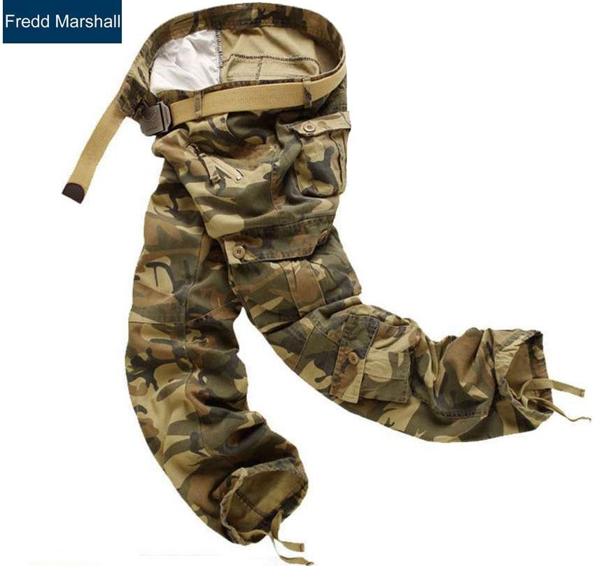 2017 новое прибытие армия брюки-карго мужчины камуфляж мешковатые Мульти Карманы боевые бренд камуфляж брюки Военный стиль тактические брюки 204