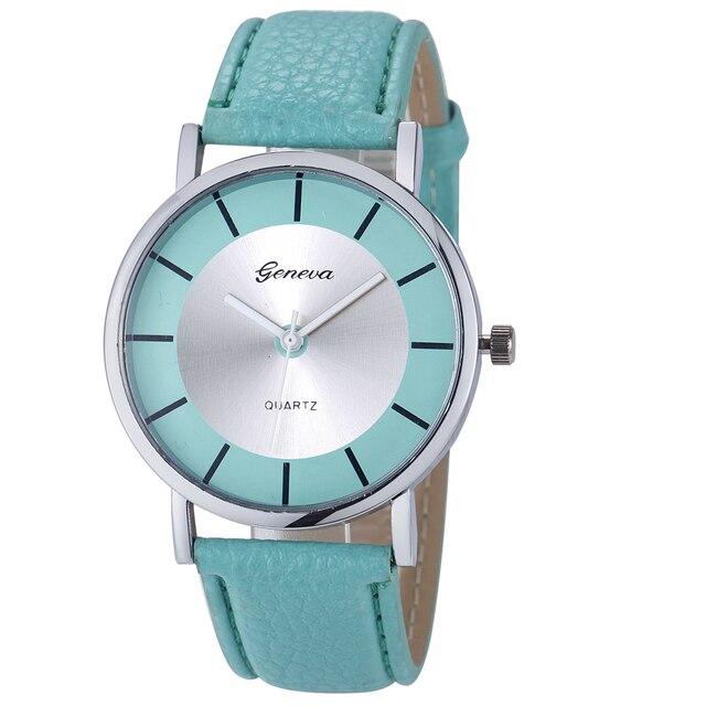 Cheap Sports Watches Men Women Geneva PU Leather Strap Wrist Quartz Watch Mens R