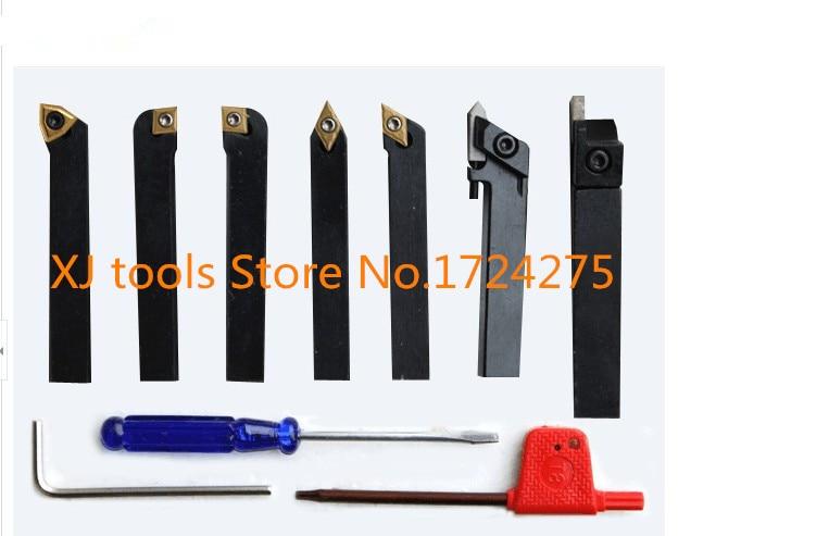 6mm/8mm/10mm 7pcs/set Indexable Carbide Turning Lathe Cutter Tool With Inserts For Mini Lathe Machine Titanium Lathe Tool Set
