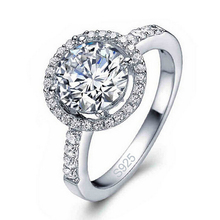 Top Quality Luxury CZ Cubic Zirconia Fine Jewelry  Real Pure 925 Sterling Silver Wedding Engagement Rings For Bridal