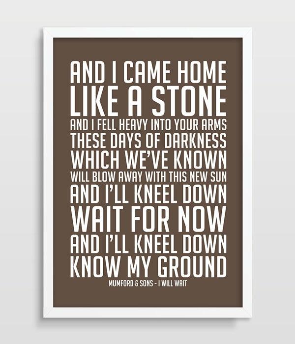 Mumford & Sons I Will Wait Music Lyrics Song Lyric Art Song Poster ...